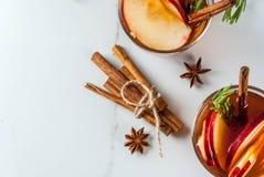 热的鸡尾酒用苹果,迷迭香,桂香 免版税库存照片
