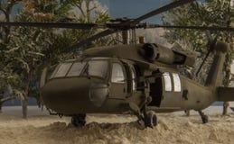 黑热的直升机 免版税库存图片