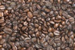 热的黑色烤了阿拉伯咖啡与烟作用的咖啡豆 库存图片