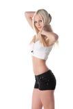 热短裤妇女年轻人 免版税库存照片
