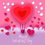 热空气气球为愉快的情人节 库存例证
