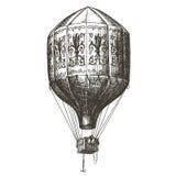 热空气气球传染媒介商标设计模板 减速火箭 免版税库存图片