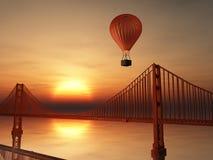 热空气气球和金门 库存图片