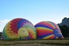 热空气气球和飞行员在老挝 库存照片