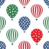 热空气气球无缝的样式 明亮的颜色热空气气球设计 库存照片