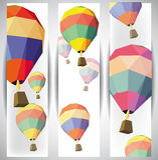 热空气气球横幅 库存图片