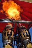 热空气气球火焰特写镜头 免版税图库摄影