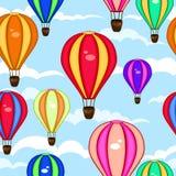 热空气气球的五颜六色的无缝的样式 免版税图库摄影