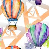 热空气气球背景飞行空运例证 无缝的背景模式 免版税库存照片