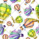 热空气气球背景飞行空运例证 无缝的背景模式 库存照片
