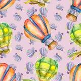 热空气气球背景飞行空运例证 无缝的背景模式 免版税图库摄影