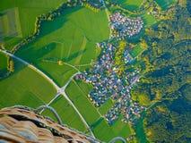 热空气气球视图从上面 德国从上面 免版税库存照片