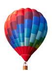 热空气气球,在白色的五颜六色的浮空器,裁减路线 免版税库存图片