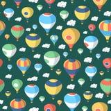 热空气气球–无缝的样式 图库摄影