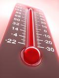 热红色温度计 免版税库存照片