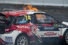 热罗姆火的Grossset Janin 巴塞罗那FIA世界Rallycross 库存照片