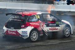 热罗姆火的Grossset Janin 巴塞罗那FIA世界Rallycross 库存图片
