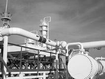 热转换器在精炼厂 激昂的汽油空气冷却器 库存图片