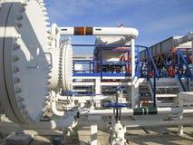 热转换器在精炼厂 激昂的汽油空气冷却器 石油精炼的设备 库存图片
