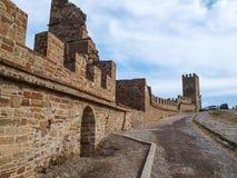 热那亚人的堡垒在Sudak 库存照片