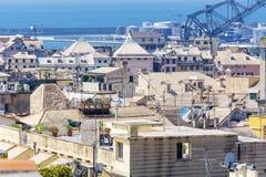 热那亚全景端口 免版税库存照片
