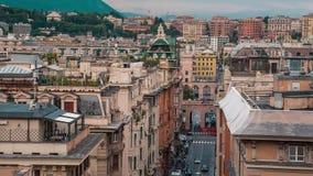 热那亚地平线,意大利,灯笼地标,利古里亚,老镇鸟瞰图  股票录像