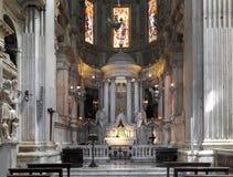 热那亚大教堂教会-圣劳伦斯湾大教堂内部  免版税库存图片