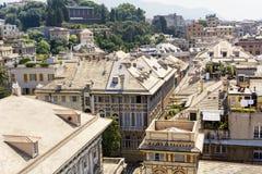 热那亚市,全景 免版税库存照片