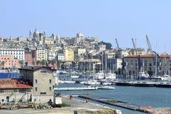 热那亚旧港口 库存照片