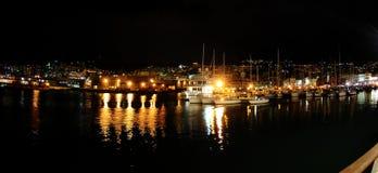 热那亚晚上端口 免版税图库摄影