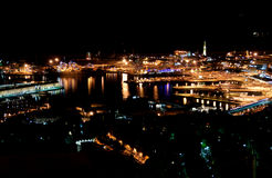 热那亚晚上视图 库存图片