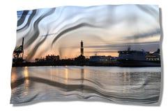 热那亚灯塔老港口视图 库存图片