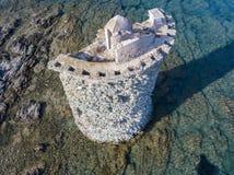 热那亚的塔的鸟瞰图,游览喧闹声,盖帽Corse半岛,可西嘉岛 海岸线 法国 免版税库存图片