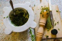 热那亚的Pesto 免版税库存图片