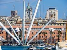 热那亚,意大利波尔图Antico老港口Viev  免版税图库摄影