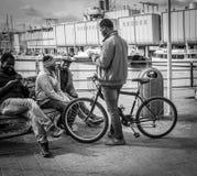 热那亚,意大利- 2016年4月21日:享受f的四个非洲人 库存照片