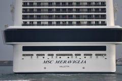 热那亚,意大利- 2017年7月27日-从港口的游轮航行 免版税库存照片