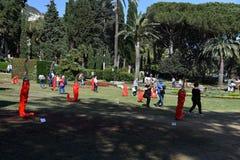热那亚,意大利- 2018年4月27日- Euroflora回归向Nervi的独特的情景的热那亚停放 库存图片