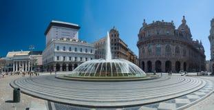 热那亚(赫诺瓦) De法拉利广场城市的心脏 库存照片