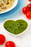 热那亚Pesto的alla,蓬蒿调味汁。 免版税库存照片