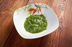 热那亚Pesto的alla,蓬蒿调味汁 免版税库存图片