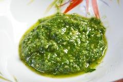 热那亚Pesto的alla,蓬蒿调味汁 免版税库存照片