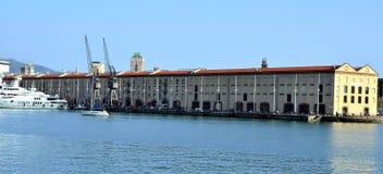 热那亚port magazzini del cotone 库存图片
