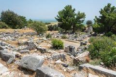 热量浴废墟在Priene古城在土耳其 免版税库存图片