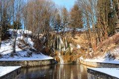 热量瀑布在冬天-斯洛伐克 免版税图库摄影