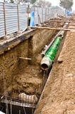 热隔离位于的管道沟槽 库存照片
