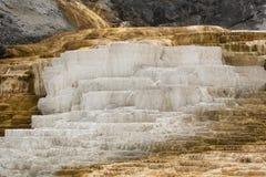热,碳酸盐岩石在Yellowst叫石灰华形式大阳台 库存图片
