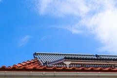 热水和热化的太阳能集热器在房子屋顶  库存图片