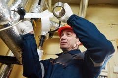 绝热 有箔的工作者绝缘的加热系统管子 免版税库存图片