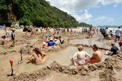 热水Bech -新西兰 免版税库存照片